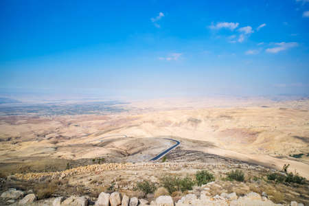 View from top of the Mount Nebo to the Jordanian desert valley. Desert land around the dead sea