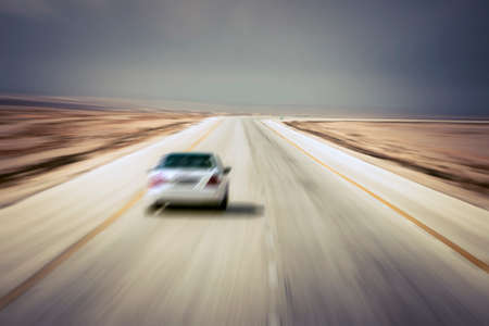 Blurred road and car with traffic effect. Road with left driving.