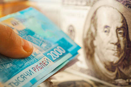 exchange of dollar for rubles. currency devaluation. Banknotes close -up. The concept of the financial crisis.