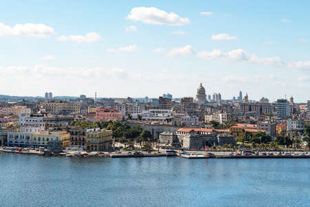 Beautiful panoramic view of old Havana from the old lighthouse. Highly detailed panoramic view