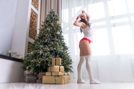 Young beautiful sexy woman standing at the stake early in the morning near the Christmas tree and the big window in the bedroom of a cozy apartment. New year's eve