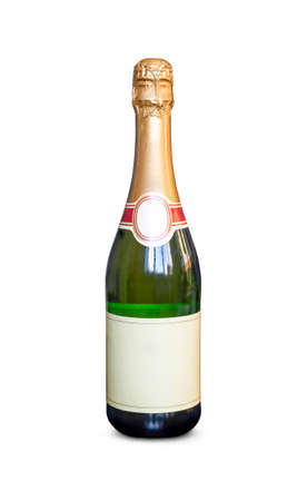 champagne bottle isolated on a white background. Closed traffic jam. Empty space for the design or text on the label.