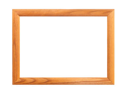 photo frame isolated on white background. wooden frame, wooden framework
