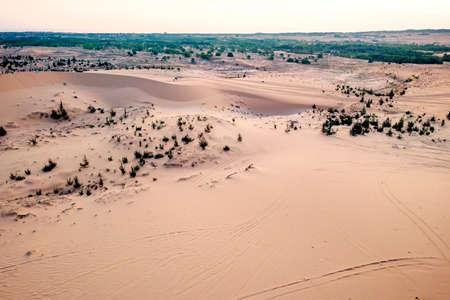 White sand dunes at Mui Ne, Vietnam. top view, aerial view Zdjęcie Seryjne