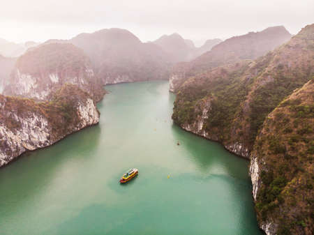 Peaceful Halong Bay. Top view of Halong Bay Vietnam. Beautiful seascape with rocks and sea. Exotic nature of Southeast Asia