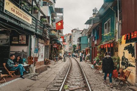Landmark of Hanoi: old railway in afternoon at Hanoi. Vietnam. 13 January 2019 新聞圖片