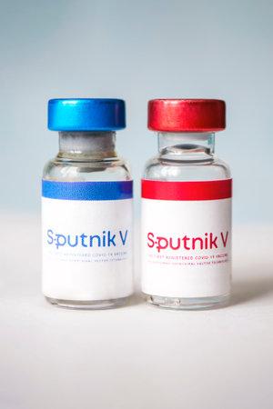 January 18, 2021, Barnaul, Russia .. The Covid-19 coronavirus vaccine produced in Russia named sputnik V.