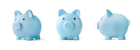 blue piggy bank on a white background. concept of preserving and saving money.