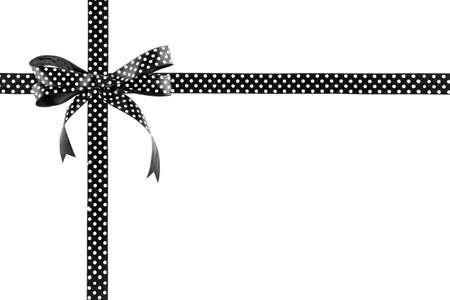 Zwart-wit lint met een boog op een witte achtergrond Stockfoto
