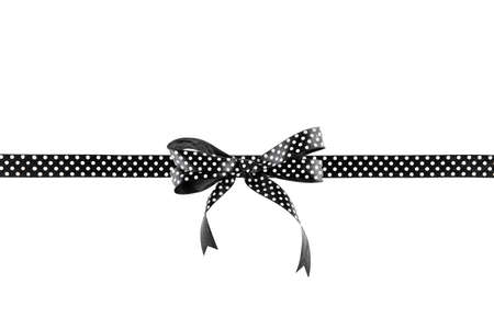 goodie: Black and white ribbon with a bow on a white background