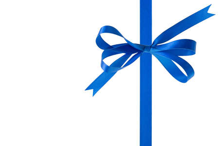 goodie: Blue ribbon with a bow on a white background