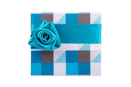 christmas present box: blue-gray gift box with ribbon tied like a rose on a white background
