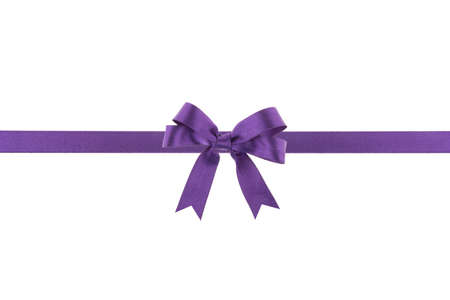 purple ribbon: Purple ribbon with a bow on white background Stock Photo
