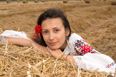 national costume: Young woman with national costume from Bulgaria Stock Photo