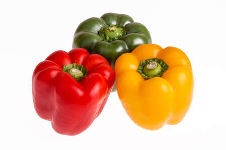 rosso verde: Red, green and yellow pepper on a white background Archivio Fotografico