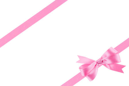 goodie: Pink ribbon with a bow on white background