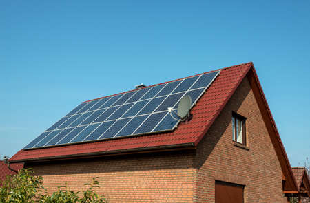 sun roof: Solar panel on a red roof