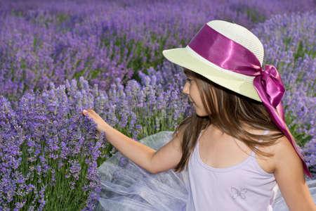lavanda: Little girl in a field of lavender