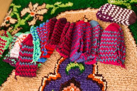 national costume: Knitted socks - bulgarian national costume Stock Photo