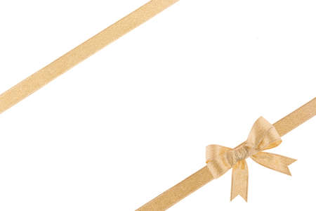 holiday greeting: Golden ribbon with a bow on white background