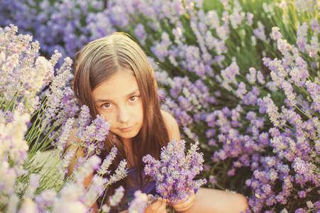 lavanda: Little girl in a field of lavender - copy space