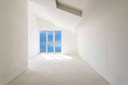 unfinished building: Unfinished building interior, white room with sky view (includes clipping path) Stock Photo