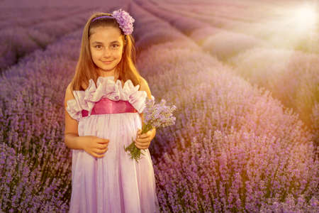 Little girl in a field of lavender - selective focus, copy space Stock Photo