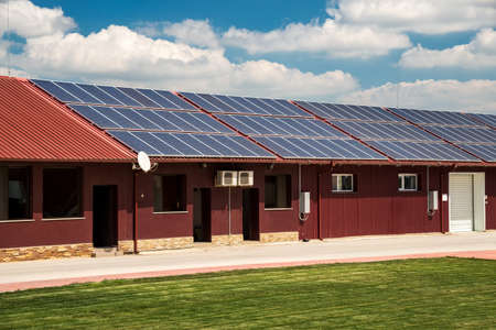 Solar panel on a red roof - copy space