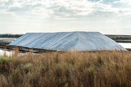 salt pile at saltworks - selective focus, copy space
