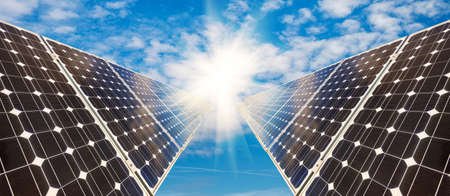 photovoltaic panels - alternative electricity source - selective focus, copy space Stock Photo