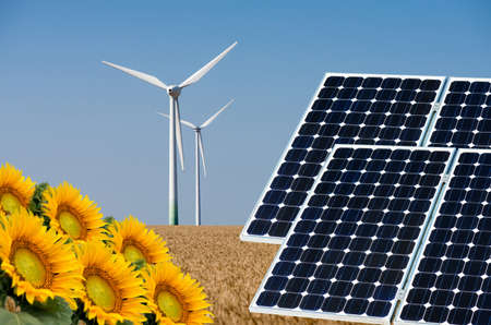 turbin: Photo collage of solar panels and wind turbin against the crops background - concept of sustainable resources
