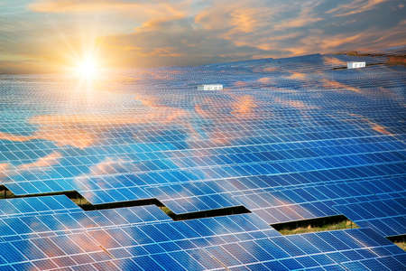 Solar panels, photovoltaic - alternative electricity source - selective focus, copy space 스톡 콘텐츠