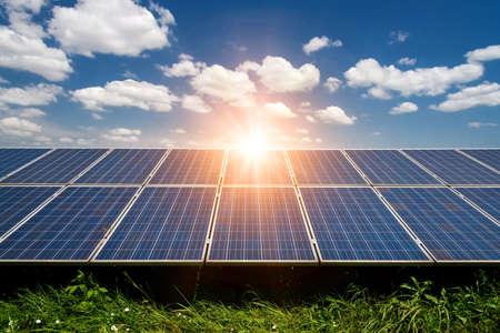 Solar panels, photovoltaic - alternative electricity source - selective focus, copy space Stock Photo
