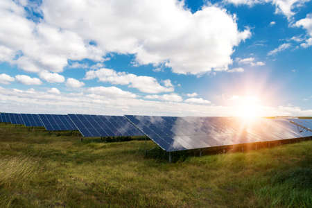 Solar panels, photovoltaic - alternative electricity source - selective focus, copy space Imagens