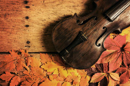 Old violin and autumn leaves over an old rustic wooden table - top view, copy space