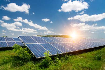 Solar panels, photovoltaic - alternative electricity source - selective focus, copy space Standard-Bild