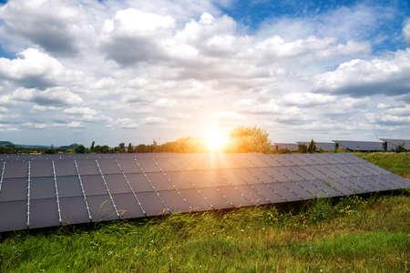 Solar panels, photovoltaics, alternative electricity source - concept of sustainable resources 版權商用圖片