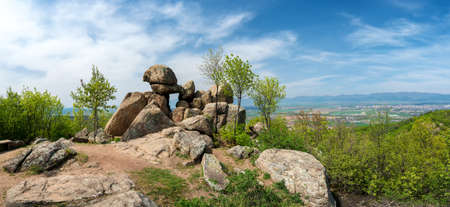The Door of the Goddess - an ancient Thracian stone sanctuary near Kazanlak in Bulgaria - megalith, also known as the Solar Gate - panorama Stock Photo