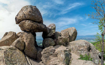 The Door of the Goddess - an ancient Thracian stone sanctuary near Kazanlak in Bulgaria - megalith, also known as the Solar Gate Stock Photo