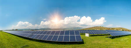 Panoramic view of solar panels, photovoltaics, alternative electricity source - concept of sustainable resources Reklamní fotografie