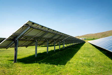 Back side of a solar panel, photovoltaic, alternative electricity source - concept of sustainable resources