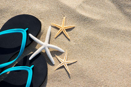 Summer vacation concept starfish and flip flops on sandy tropical beach - selective focus, top view, copy space