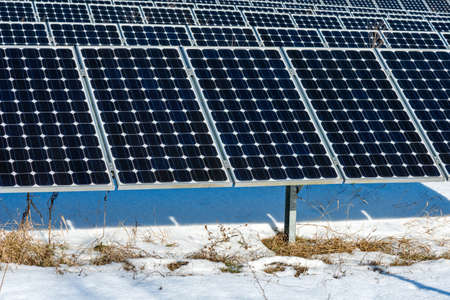 Solar station in winter. Solar panel, photovoltaic. Alternative electricity source. Concept of sustainable resources