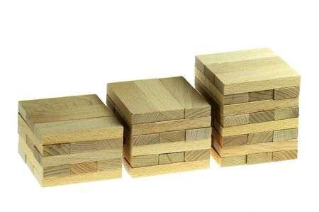Raw wooden blocks isolated on white background