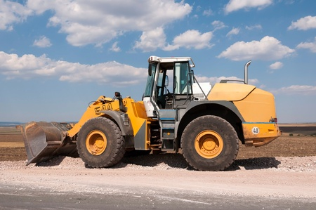 Support activities for the construction of a highway  Road under construction  Stock Photo - 14857738