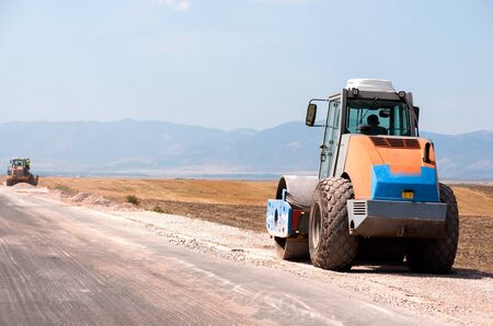 Support activities for the construction of a highway  Road under construction  Stock Photo - 14857750