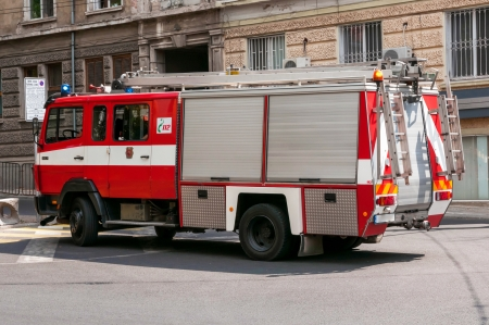 Fire truck in the street of Burgas, Bulgaria