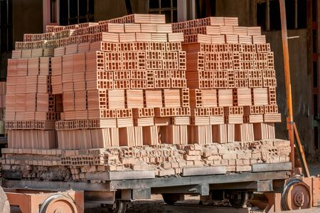 Industrial production of bricks Stock Photo