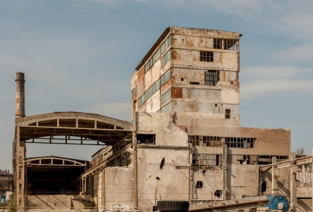 Old and broken thermal power plant photo