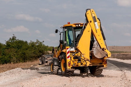 Support activities for the construction of roads and highways. Road under construction. photo
